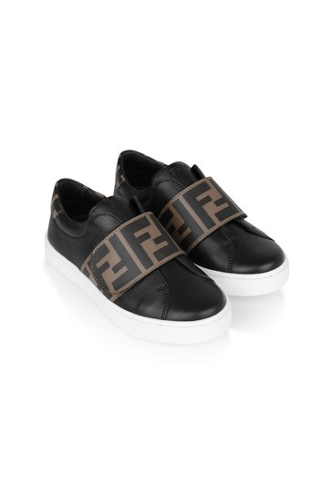 Black Leather Logo Strap Trainers