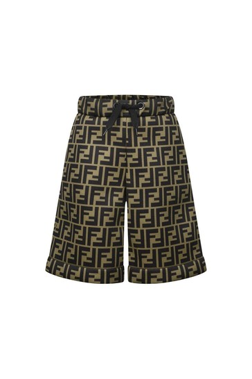 Boys Brown FF Logo Neoprene Shorts