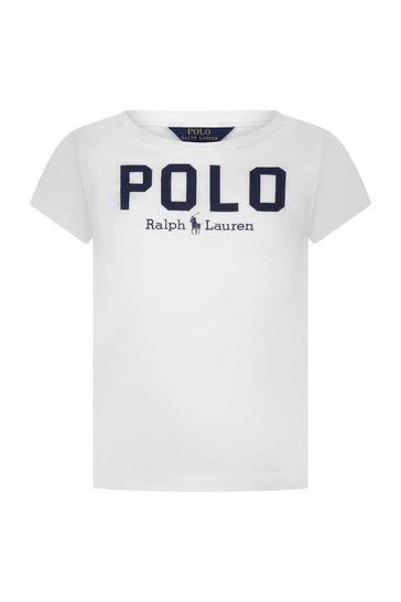 Girls Cotton Polo Print T-Shirt