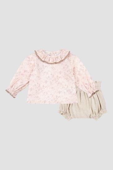 Baby Girls Pink Shirt And Shorts Set