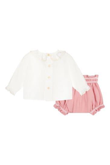 Baby Girls Cream Shirt And Shorts Set