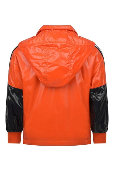 Kids Orange & Black Hexagon Jacket