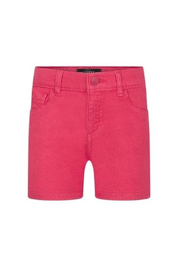 Girls Fuchsia Denim Shorts