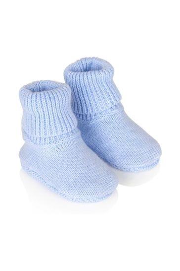 Baby Boys Blue Hat & Bootie Set