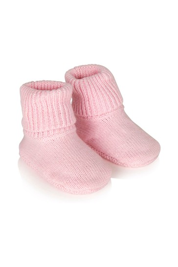 Baby Girls Pink Hat & Booties Set