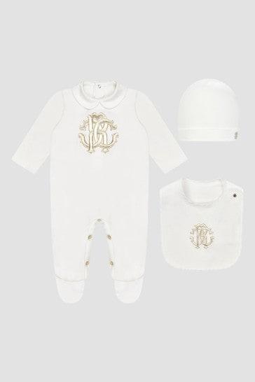Roberto Cavalli Baby Unisex White Sleepsuit