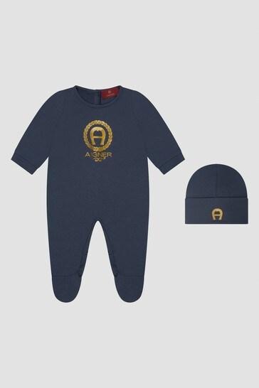 Baby Boys Navy Sleepsuit Gift Set