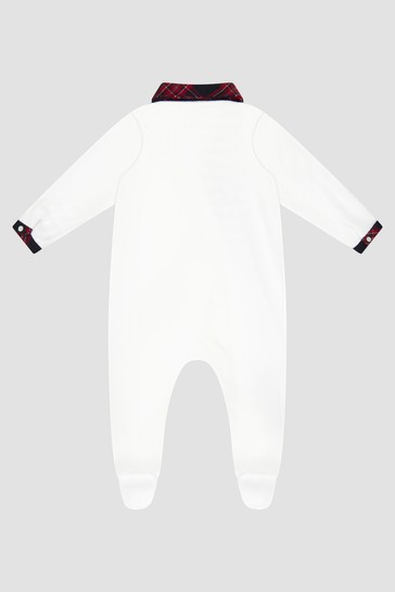 Baby Boys White Sleepsuit