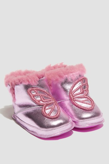 Baby Girls Pink Butterfly Boots