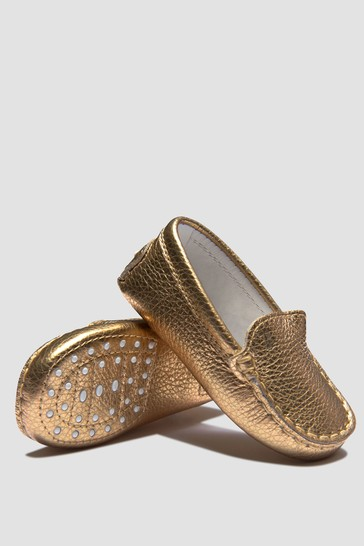 Baby Girls Gold Loafers
