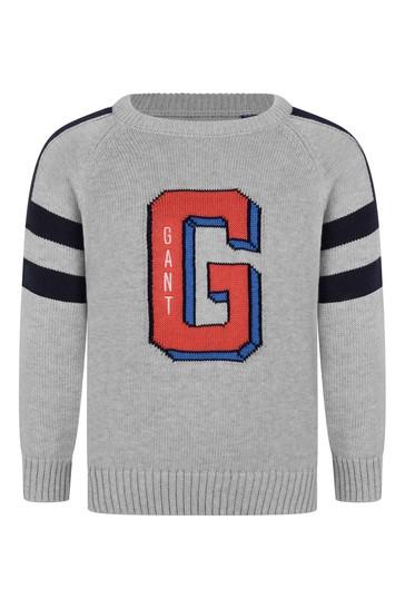 Boys Grey Cotton Varsity Sweater