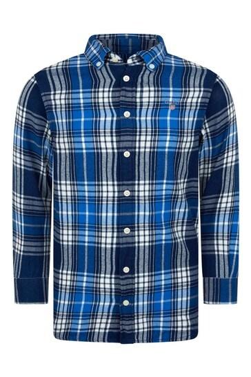 Boys Indigo Check Cotton Shirt