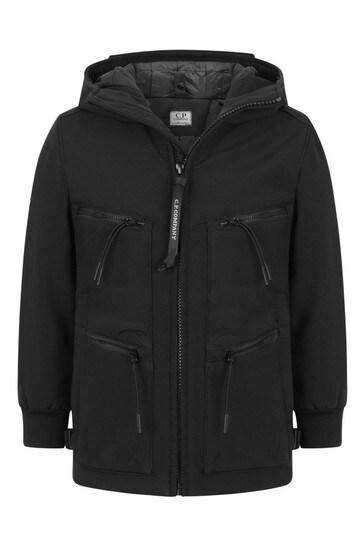 소년 블랙 지퍼 포켓 고글 재킷