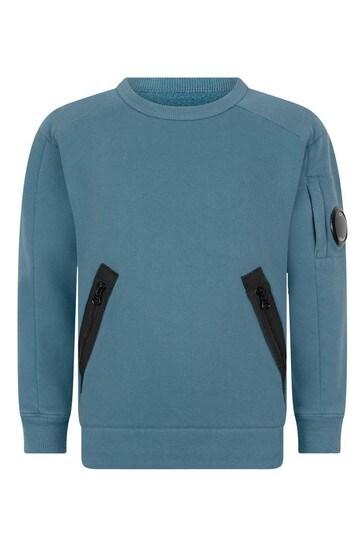Boys Blue Cotton Crew Neck Sweater