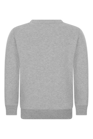 Boys Grey Melange Cotton Crew Neck Sweater