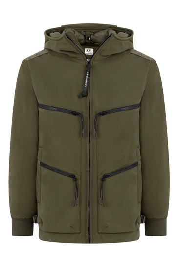 Boys Green Zip Pocket Goggle Jacket