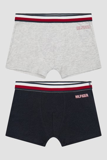 Boys Grey & Navy Organic Cotton Boxer Shorts Set