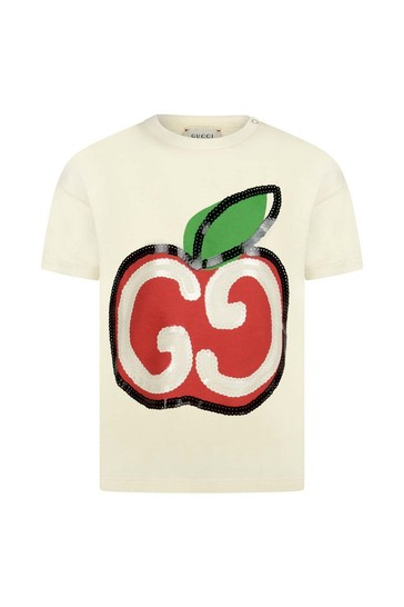 Baby Girls Ivory Cotton Apple Logo T-Shirt