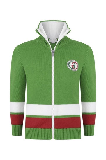 Boys Green/Red Logo Zip Up Top