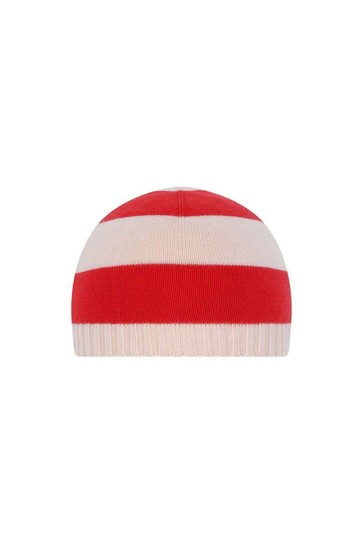 GUCCI Baby Hat - Red Striped Cotton Baby Hat