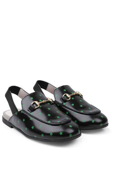 Black Leather Slingback Star Shoes