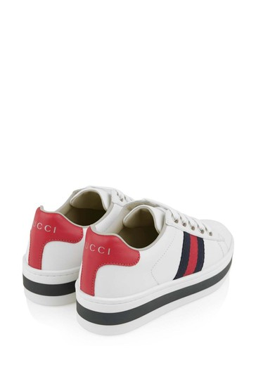 GUCCI White Leather Platform Trainers