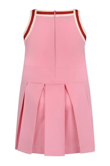 걸스 핑크 코튼 플리츠 드레스