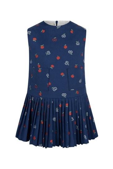 Girls Blue Cotton Apple GG Dress