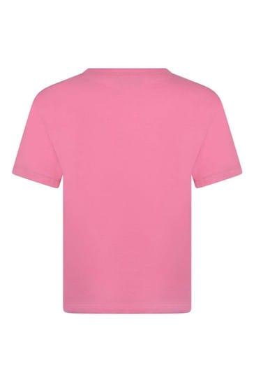 보이즈 핑크 코튼 로고 티셔츠