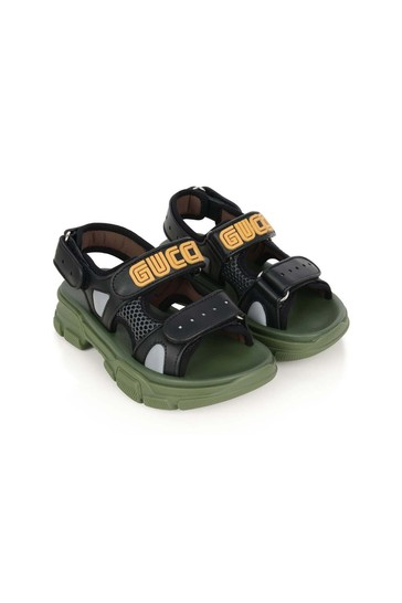 Kids Black Leather & Mesh Sandals