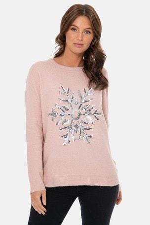 Threadbare Christmas Snowflake Sequin Jumper