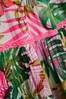 Pink/Green Palm Print Tiered Dress