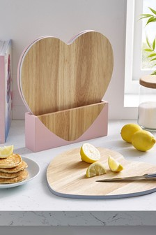 Set of 3 Heart Chopping Boards In Holder