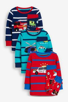 Multi Stripe Vehicles 3 Pack Snuggle Pyjamas (9mths-12yrs)