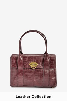 Berry Leather Collection Tote Bag