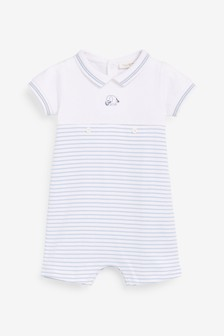 White/Blue Striped Polo Romper (0mths-2yrs)