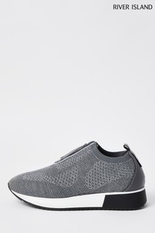 River Island Silver Silver 7441 Zip Front Runner Trainers