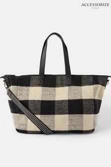 Accessorize Black Willa Check Weekender Bag
