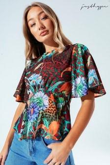 Hype. Womens Multi Neon Leopard Blouse