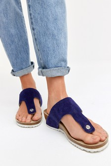 Navy Suede Forever Comfort® Toe Post Footbed Wedge Sandals