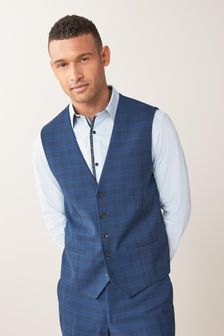 Bright Blue Waistcoat Check Tailored Fit Suit