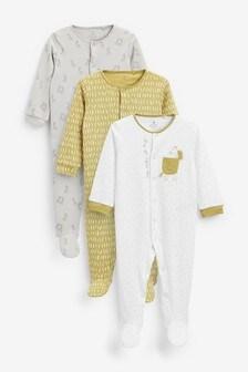 Ochre 3 Pack GOTS Organic Giraffe Sleepsuits (0mths-2yrs)