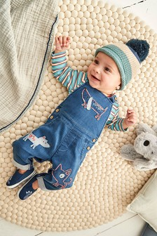 Blue Dog Stretch Denim Dungaree And Bodysuit Set (0mths-2yrs)