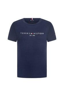 Boys Navy Organic Cotton Logo T-Shirt