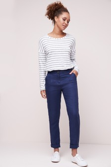 Navy 100% Linen Taper Trousers