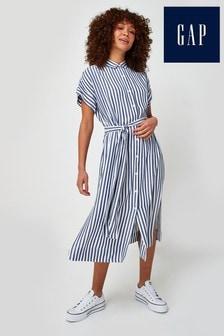 Gap Striped Tie Waist Shirt Dress