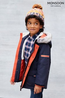 Monsoon Blue Boys Parka Coat With Hood