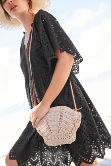 Natural Shell Shaped Raffia Bag