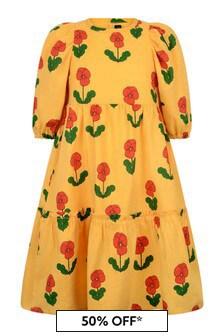 فستان منسوج أصفر بنفسج بكم منفوخبناتي