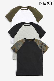 Camouflage 3 Pack Raglan T-Shirts (3-16yrs)